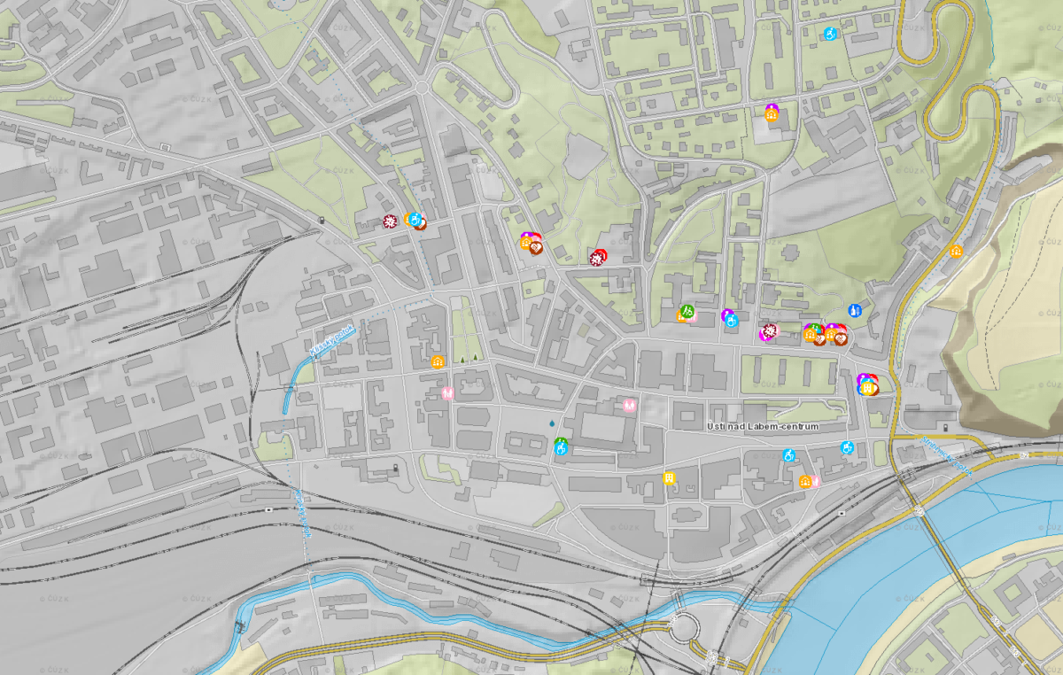 Mapa pomoci v Ústí nad Labem